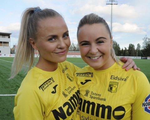 Mia Schjerve Giæver (til venstre) og Kaja Bjørkvold bør finne veien til nettmaskene dersom Raufoss skal ha håp om å kapre kvalikplassen.