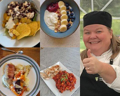 HJEMMELAGD: Lærer i restaurant- og matfag ved Raufoss videregående skole, Turid Svalund Angiuli, viser frem forskjellige matretter som hennes elever har laget fra kjøkkenet hjemme.