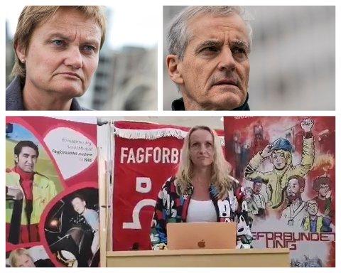 VEISKILLE: Både stortingsrepresentant Rigmor Aasrud fra Gran, Ap-leder Jonas Gahr Støre og Guri Bråthen, Ap-leder i Østre Toten, brukte 1. mai til å snakke om behovet for endring.