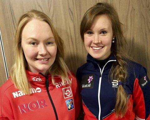 TRENERKANDIDATER: Gyda Enger (til venstre) og Monika Kørra var denne helgen med som trenerressurser under nordisk juniorlandskamp i Finland. Begge er tatt ut til mentorprogrammet som skal gi et kvinneløft i Norges Skiforbund.