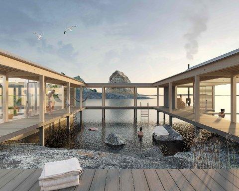 Slik ser man for seg deler av det planlagte prosjektet på Træna.