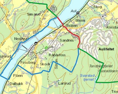 ALTERNATIV NES: Eksisterende grense som oppheves (rød), ny grense (blå) og eksisterende grense som opprettholdes (grønn). (Illustrasjon: Fylkesmannen)