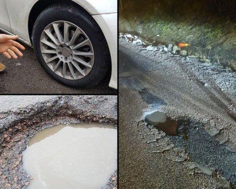 SMALT: Fredag morgen skal denne bilen ha kjørt ned i dette hullet. Ifølge bileieren skal det ha skapt en stor smell.