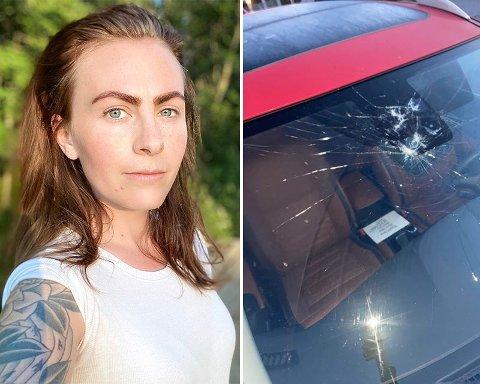 VANDALISERT: Gabrielle Bergersen fikk seg en negativ overraskelse da hun skulle sette seg i bilen etter trening i Aurskoghallen onsdag kveld.