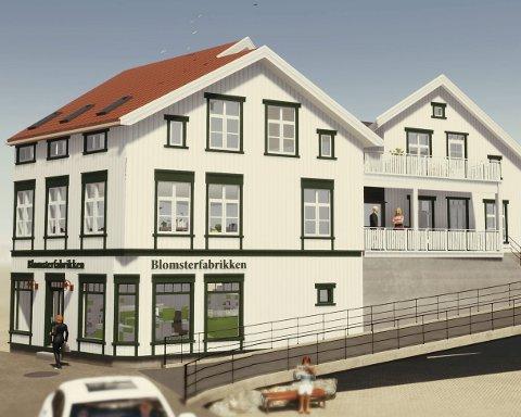 Slik kan det bli: Arkitekt Atle Goutbeek har tegnet det nye bygningskomplekset. Før det kan bygges må det nåværende bygget, hvor det for mange år siden var en blomsterfabrikk, rives. Byggherren legger ikke skjul på at det blir en jobb som vil berøre trafikken i Tvedestrand sentrum. Han regner med at det vil bli en lysregulering, og at gata kan bli  helt stengt en kort periode.Illustrasjon: Goutbeek AS