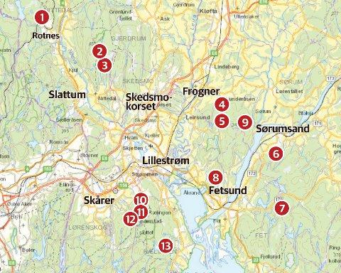 Her er dammene NRV skal kvitte seg med: 1) Høldippeldammen, 2) Nordre Ryggevann, 3) Søndre Ryggevann, 4) Lunderåsdammen, 5) Lundertjern, 6) Senneruddammen, 7) Abbortjern, 8) Tientjern, 9) Bæreggtjern, 10) Åmotdammen, 11) Åmotdammen sperredam, 12) Østbyputten, 13) Ramstadsjøen.