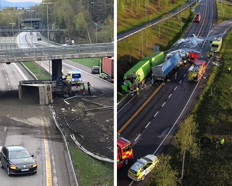DØDELIG: To personer har mistet livet i trafikken på Romerike i løpet av kort tid. Bildet til venstre er fra en ulykke på riksvei 159 i Lørenskog, bildet til høyre er fra kollisjonen mellom to vogntog i NIttedal.