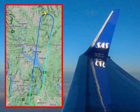 SNUDDE: Det ble en kort reise for SK4116 før flyet kom seg i lufta på ny.