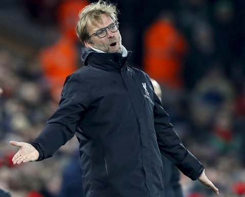 Liverpool manager Jurgen Klopp gestures on the touchline, during the English Premier League soccer match between Liverpool and Stoke City, at Anfield, in Liverpool, England, Tuesday Dec. 27, 2016. (Martin Rickett/PA via AP)