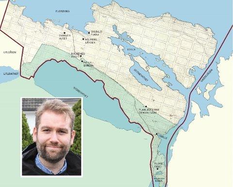 OPPGITT: Kommunedirektøren vil snevre inn Florø by til å vere innanfor den historiske bygrensa. Det gjer at Jacob Nødseth (V) blir både oppgitt og frustrert