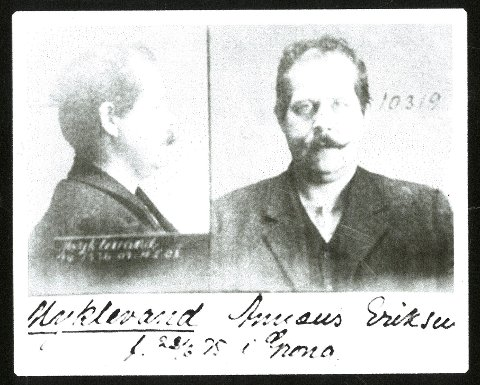 FANGE: Annæus Eriksen Myklevand, født 22/6 1875 i Grong i Namdalen. Bildet er fra 1915 da han satt i Botsfengslet i Oslo.