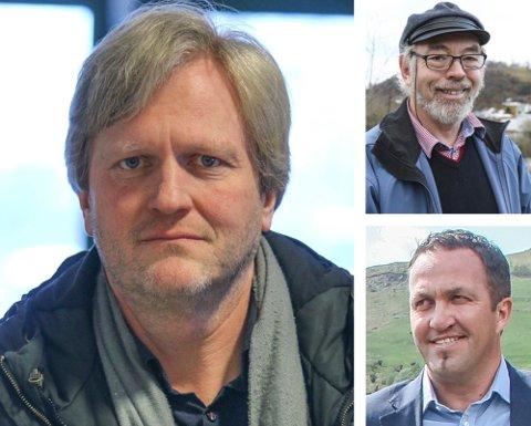 Aps Frode Fjeldsbø, Høyres Henry Tendenes (øverst til høyre) eller KrFs Andreas Eidsaa jr. Èn av dem blir trolig valgt til ordfører ved valget.