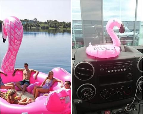 BLE LURT: Susan Borg trodde hun bestilte flamingoen til venstre. Hun mottok fem av den til høyre. Skjermgrab: Facebook