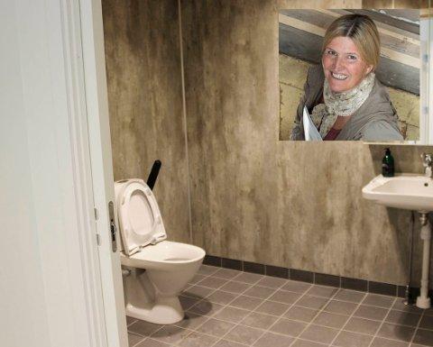 Offentleg: Dette toalettet kan bli ståande låst i sommar. Helga Tverdal (innfelt) synest det er merkelege prioriteringar av kommunen.