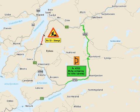 SIKRER: På dette kartet kan du se strekningen som nå blir sikret. I tillegg kan du se omkjøringsveien. kart: Statens vegvesen