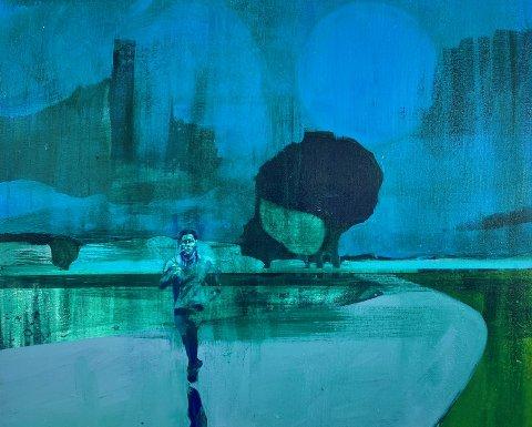 Her ser du eitt av maleria til Kenneth Blom. Laurdag opnar han utstilling i Galleri G Guddal.
