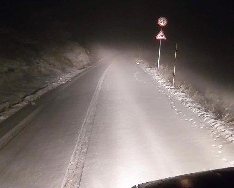 SNØ: Et lite snødryss på Vegglifjell.