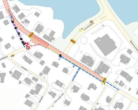 Nytt kjøremønster: Kartet viser hvilke steder i Gravdalsgata som nå blir sperret.