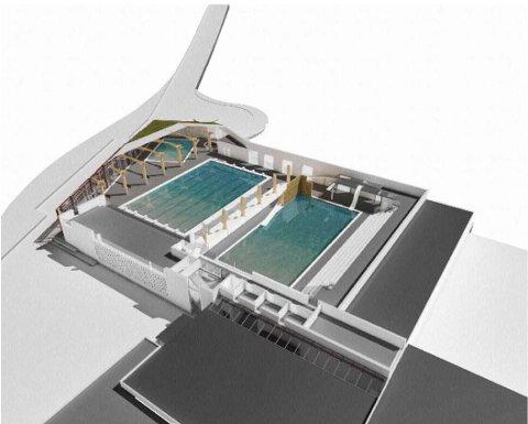 TEGNING: Svømmehallen blir utvidet med to bassenger hvis politikerne sier ja til planene.