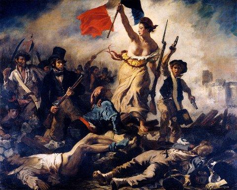 En kvinne som personifiserer frihet, leder folket fram over kroppene til de falne