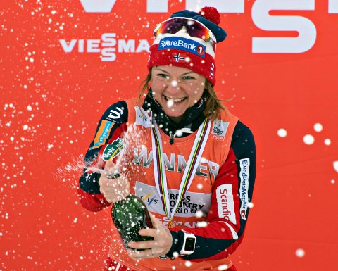 Norway's Maiken Caspersen Falla celebrates winning the crystal globe as overall World Cup winner for women's sprint, Friday, March 17, 2017 at the FIS World Cup cross country finals in Quebec City. (Jacques Boissinot/The Canadian Press via AP)