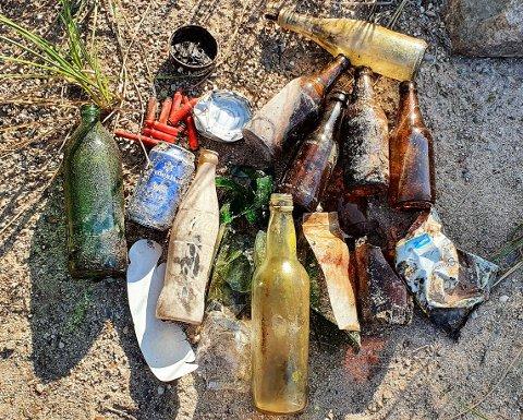 FORSØPLING: Det viste seg å ligge mange glassflasker under vannoverflaten ved Storøyungen i Nannestad.