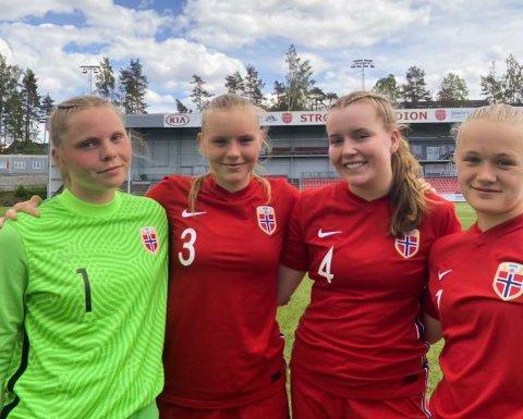 Fotballkeeper Vendela Bakke, Hyggen IF jenter, er tatt ut i Landslagstroppen jenter 16 år, her fra landslagssamlingen på Lillestrøm med Jenny Davik Fredhall, Ane Wedder Buer, Tuva Henriksen.