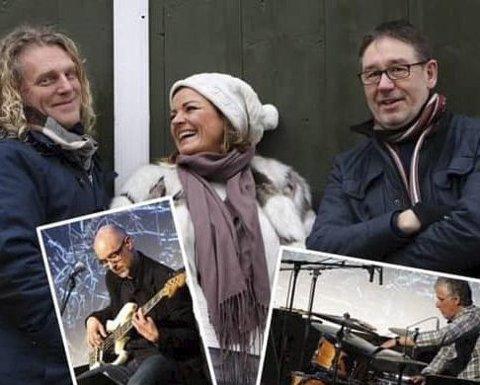 Til Skjeberg: Trond Nagell-Dahl fra «Beat for beat» (fra venstre), Ingvild Nagell-Dahl, kjent som vokalist i «Skal vi danse» på TV2 og Jon Lotterud er blant gjestene under julekonserten i Skjeberg kirke 8. desember.