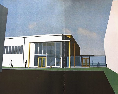 Skisse: Hallen skal bygges ved Knapstad skole. På denne skissen, utformet av iTre, går det en gang fra hallen og over til svømmehallen på skolen.