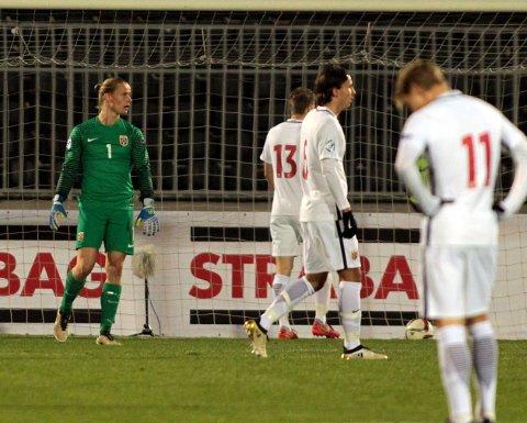 NEDTUR: Norges U21-gutter, med Odds Sondre Rossbach i målet, tapte med to mål og får det tøft i returkampen i Drammen tirsdag.