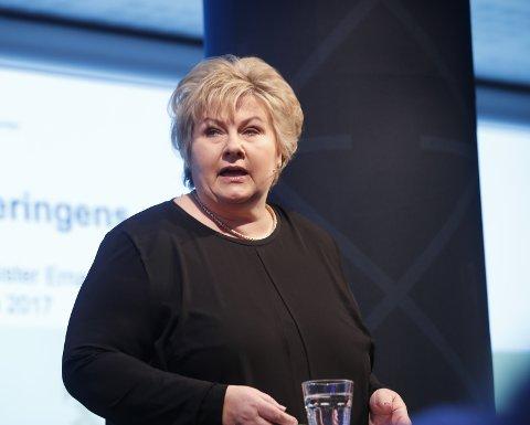 ÅPNER: Statsminister Erna Solberg skal foreta den offisielle åpningstalen til jubileumsfestivalen. Foto: NTB Scanpix