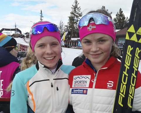 DUELL: Gro Njølstad Randby (til venstre), sammen med sin hardeste konkurrent Eivor Melbybråten. FOTO: PRIVAT