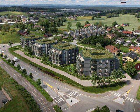 UTBYGGING: Boligprosjektet Solberg hage inneholder alt fra 2-roms leiligheter til store toppleiligheter og 12 arkitekttegnede atriumhus.
