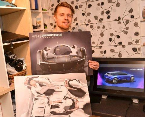 BILDESIGNZ: Erik Sætre med studentoppgaven som ga ham praksisplass som bildesigner hos Porsche. Hjemme på gutterommet i Røyken har han brukt juleferien til å tegne nye Porsche-modeller.