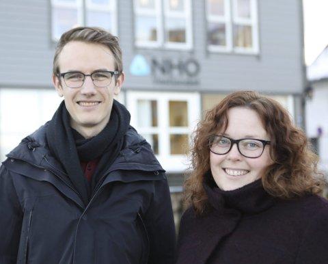 NHO PÅ BALLEN: Wenny Irene Hansen er rådgjevar for NHO marknad og Magnus Brekke Nygaard er politiske rådgjevar hos NHO Vestland avd. Florø. Begge vil gjerne ha fleire kvinner inn i styreromma.
