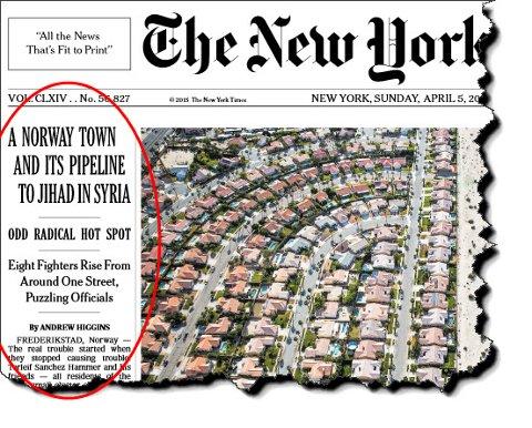 Faksimile fra dagens utgave av New York Times.