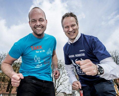 KLARE TIL DYST: Sarpsborg-ordfører Sindre Martinsen Evje (til venstre) og Fredrikstad-ordfører Jon-Ivar Nygård er klare for Glommaløpet. Foto: Geir A. Carlsson