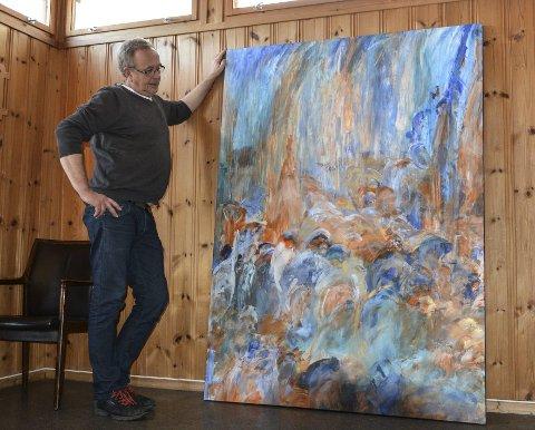 STORT FORMAT: Arne Fredrik Janshaug liker å male på store lerret og beskriver maleprosessen som en slags meditasjon.