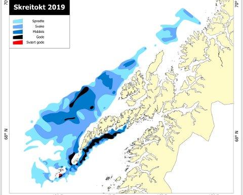 SKREIKARTTET: Den aller kraftigste registreringen ble gjort ved Røst med ei skreiflo som var mindre enn ei halv nautisk mil brei nokså nært land,