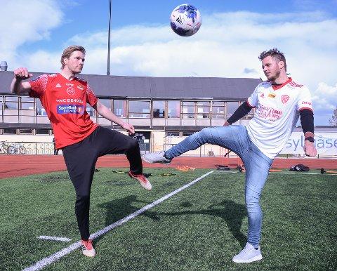 UTSATTL: Petter Senstad (t.v.) og Lars Johan Kollshaugen må fortsatt trene uten kontakt og spille kamper. Det skaper frustrasjon i både SK Gjøvik-Lyn og FK Toten.