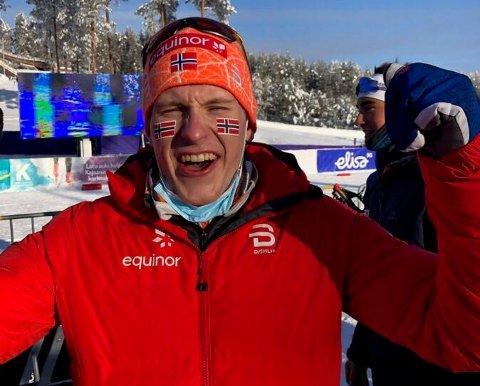 VM-jubel: En overlykkelig Jonas Vika kunne slippe følelsene løs etter seieren.