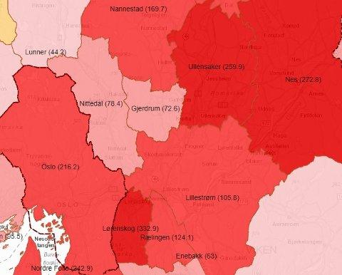 IKKE LIKE BLODRØDT: Kartet som viser smittesituasjonen på Romerike er langt fra like rødt som det var for en måned siden. Skjermdump: Beredskapsetaten-K2