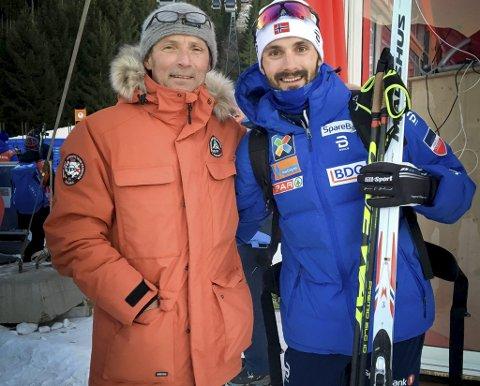 STOLT: Pappa Rolf Arne Holund er imponert over at sønnen Hans Christer har kommet tilbake etter mange tunge år i skisporet.                  FOTO: PRIVAT