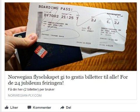 SPRER SEG: Norwegian advarer mot svindelforsøk. Foto: Skjermdump Faceboo