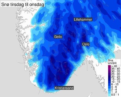 SNØ I VENTE: Slik ser nedbørsvarselet ut for Sør-Norge tirsdag til onsdag. Foto: (Meteorologisk institutt/Yr)