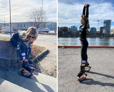 SPRETTER I VEI: I fem år har Justina Jermakoviene hoppet rundt på hoppesko. Nå har hun tatt kurs og håper å invitere folk på gruppetimer, når restriksjonene letter opp.