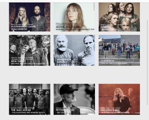 1-8: Av de hittil ni konsertene på Urijazz' vårprogram, er kun én, den med New Dance 26. februar, blitt gjennomført. Grunnet korona-situasjonen er de andre åtte enten blitt utsatt eller avlyst.