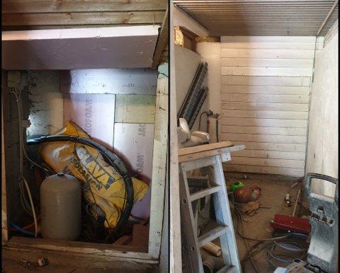 Bak denne veggen gjemte to av de ulovlige arbeiderne seg da polititet slo til mot et billakkeringsverksted på østlandet.