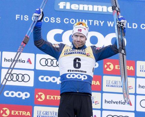 Sjur Røthe kunne juble for beste etappetid opp «monsterbakken» i Val di Fiemme i går. Det lover meget godt frem mot VM for vossingen!
