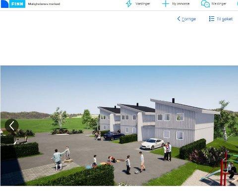 GEITHUSVEIEN: Dette skal ifølge en salgsannonse på Finn være utsikten fra i Blå Boligs nye boligprosjekt i Geithusveien i Vikersund.
